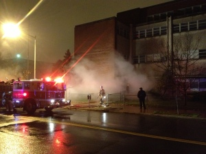 Firefighters Respond to Fire on grounds of Hine Jr. High Tuesday Night