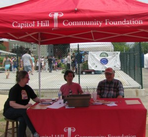 Capitol Hill Community Foundation Leads Fundraising Effort.  L-R, Cassie Weller, Mary Hilldebrand, Gary Peterson