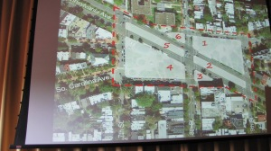 Aerial View of Six Parts of the Metro Plaza and Park Redesign Effort
