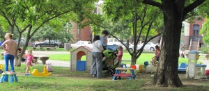 """Wells Pointed to the """"""""Guerrilla Playground"""" which has emerged in the Park Near 9th and D   as an Example of a Needed Feature in a New Design"""