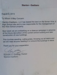 Notice from Ken Golding of Stanton Eastbanc Posted on Exterior of Hine Building