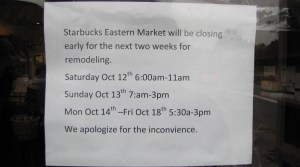 Sign on Barracks Row Starbucks Announces Temporary Early Closings