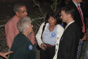 Allen Confers with Campaign Finance Chairs Steve and Nicky Cymrot (left) and Donna Scheeder of EMCAC