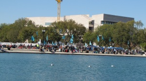 View of the rally from the east side of the reflecting pool