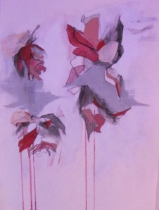 Bleeding Petals.  Mixed Media and Dead Flowers on paper.  38 cm x 28 cm.  $100