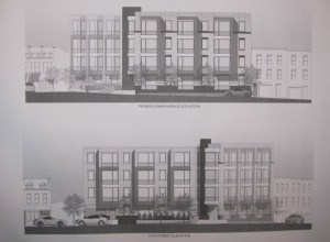 Goldstar PA Ave SE Condo Project Renderings, PA Ave and 15th St Elevations.  Bonstra/Haresign Architects