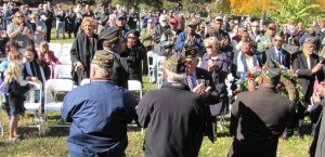 A crowd of more than 200 gathered today in Folger Park to honor veterans.