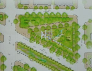 "Aerial view of concept for park north of PA Avenue featuring upgraded ""guerilla playground"""