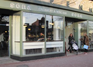 Sona - at 660 Pennsylvania Avenue, SE.  Co-owner Conan O'Sullivan (in window)  thanks customers.