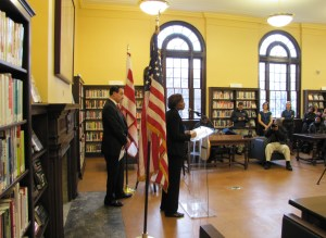 Interim DC Chief Librarian Joi Mecks introduced the Mayor and closed the ceremony
