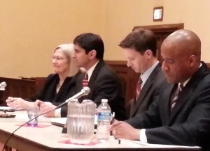 L-R, Moderator Patterson,  Pranav Badhwar, Charles Allen, and Darrel Thompson
