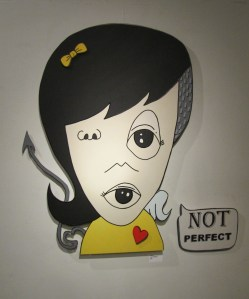 """Not Perfect"" by Decoy.  Oil and acrylic on wood, 48""X54"" - $850."