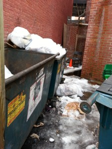 Ugly conditions in the trash dumpster area at Starbucks at 3rd and Pennsylvania, SE, on Saturday afternoon.