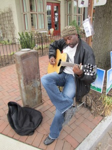 "Khaliyl Nubian plays guitar weekends, 9:00am – 6:00pm at Baked and Wired in Georgetown.  http://bakedandwired.com/   Last week found him at Eastern Market, 7th and C Streets.  His card reads, ""Have Guitar, Will Travel.""  I Want 2 Play 4 U.  Khaliyl999@hotmail.com"
