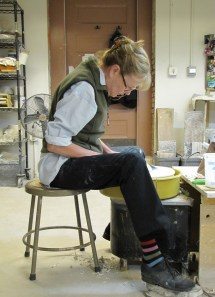 Instructor Lynn Murphy at the Potter's Wheel Last Sunday