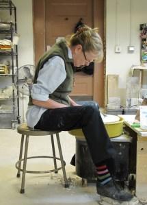 Instructor Lynn Murphy at the Potter's Wheel Last Sunday