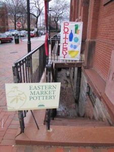 The Entrance to Eastern Market Pottery is Down the Stairs at the 7th and C Streets Corner of Eastern Market