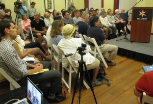 Some 200 Residents Turn Out for Crime Meeting - the Overflow Stood in the Hall or Watched a Live Video Feed in an Adjacent Room