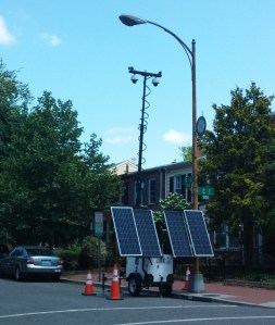 Solar Powered Security Cameras Installed Last Week by MPD Keep an Eye on the Corner of 9th and C Streets, SE, Close to Where Two Slasher Robberies Have Taken Place