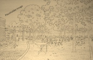 Depiction of Tables and Chairs in Grove of Trees on South Side of Plaza