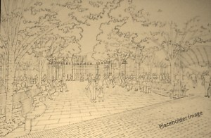 Depiction of Library Pavilion (absent the water feature)