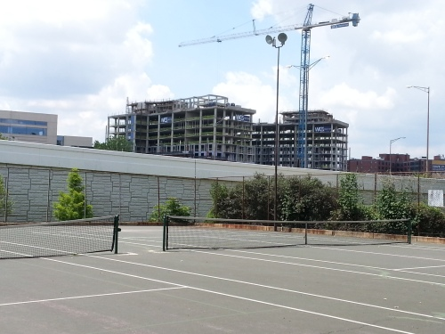 Where Did This Come From?  High Rise South of the Freeway.  Photo from Tennis Courts at Garfield Park, Third Street, SE