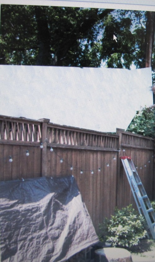 Neighbor Holds White Mock Wall to Illustrate Impact of Proposed Structure