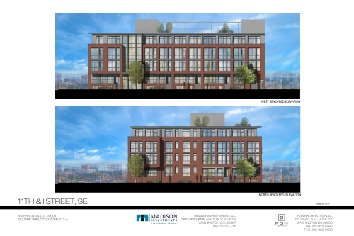 North and West Elevations, 900 I Street, SE
