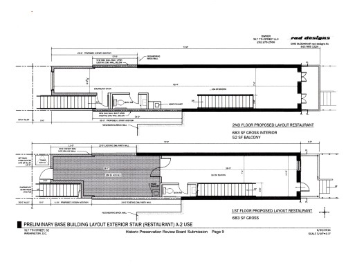 Provisional Plans Showing Layout of First and Second Floors with Kitchen Indicated by the Dark Area on the Lower Image