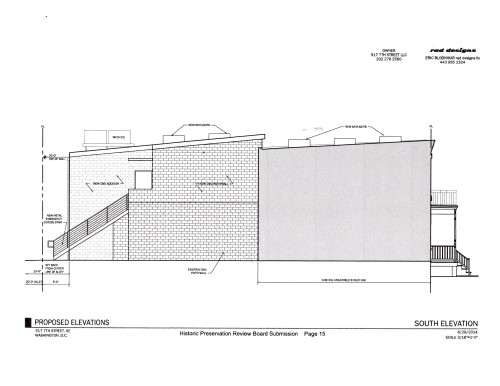 South Elevation Provisional Plan Showing Two Story Addition, Mechanicals, and Emergency Exit Stairway