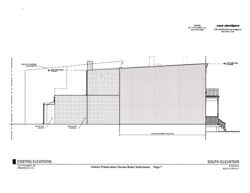 South Elevation of Provisional Plan Showing Two Story Rear Addition
