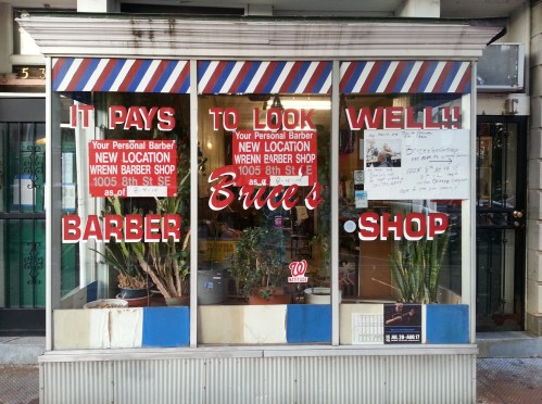 "If you were thinking, ""It had to happen."" Maybe not.  Sheila, in the first barber's char at Brice's (working temporarily out of Wren's on lower 8th), says Brice's is undergoing renovation after which she expect to move back."
