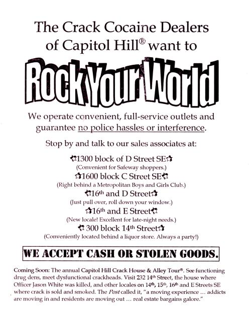 "Copy of one of 3,000 flyers posted by Myers and others in 1998 ""all over the city"" to focus authorities'  attention on Hill East drug issues"
