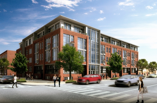 A new perspective of the 49 unit condo building planned by Madison Investments for 11th and I Streets, SE, showing changes made to the exterior design to incorporate additional features to make the structure more compatible with the Capitol Hill Historic District.  Courtesy of Jeff Goins, of PGN Architects.