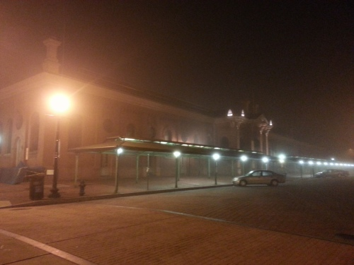 The fog crept into town last Monday night.