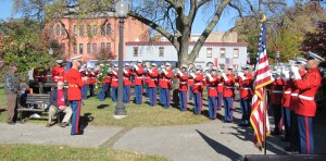 The Marine Drum and Bugle Corp, under the direction of Major Brian Dix