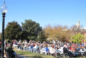 A Crowd of Nearly 200 Veterans and Those Who Expressed Their Appreciation for Their Service Attended Today's Ceremony in Folger Park