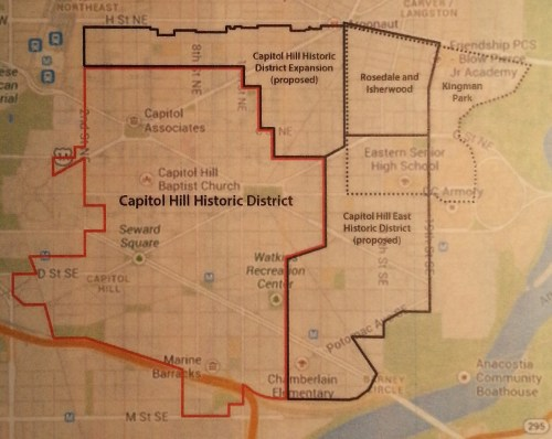 Graphic Showing Proposed Expansion of Capitol Hill Historic District and Creation of a New Capitol Hill East Historic District