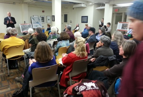 Peter May, National Park Service (upper left) addresses Marion Park residents last night at Southeast Library