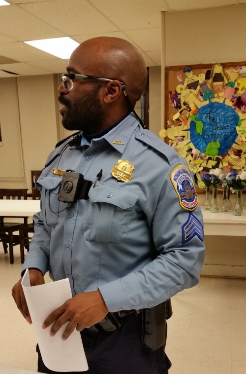 Sergeant Curry, MPD District One, Wears One of the 160 Body Cameras Being Tested in the City