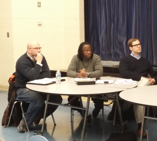 Commissioners:  (Left to Right) Patrick Malone, 6A05; Calvin Ward (Secretary), 6A08; Phil Toomajian (Chair), 6A02