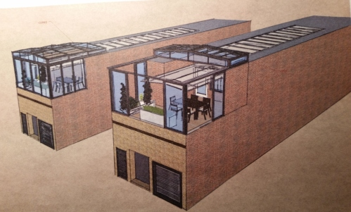 Rendering of Rose's Luxury's Proposed Enclosed Roof Deck with Sliding Glass Roof.  The Closer Image Shows the Roof in the Open Position.  The other Image Shows It Closed.