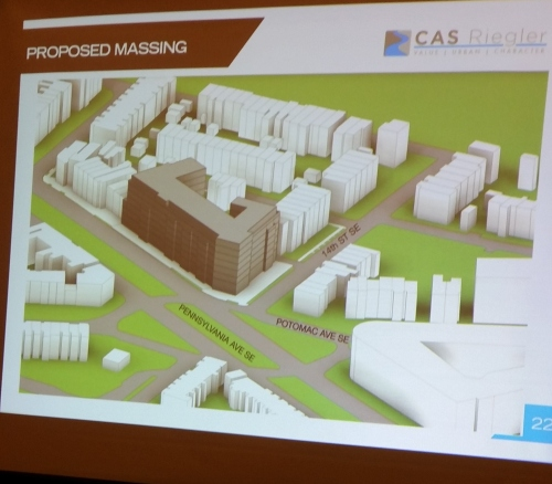 Schematic showing massing of proposed mixed use project for 1401 Pennsylvania Avenue, SE