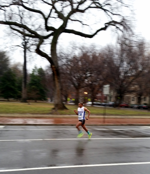 Circa 8:35am, Saturday morning, the leader in the Rock and Roll Marathon rounds Lincoln Park