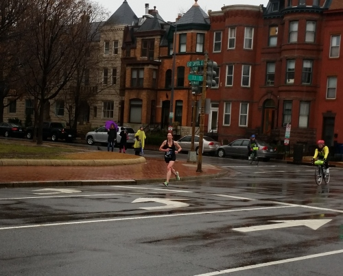 At circa 8:55am, the first woman rounded the park