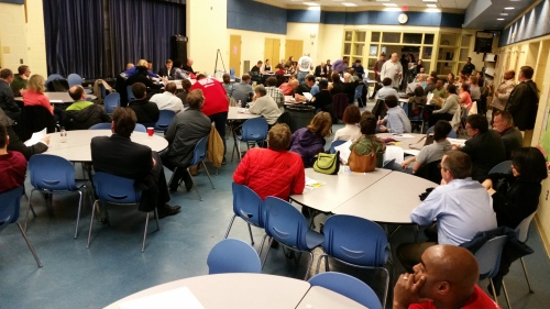 The Mayor's appearance sparked a heavy turnout - many among the crowd were parents concerned about school budget cuts