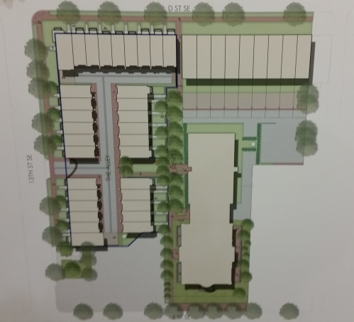 Layout of Insight's Plan for Residential Units on the Buchanan Site.  (See text below for explanation.)