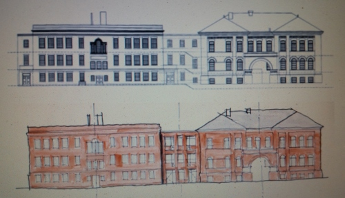 Before and Preliminary After Rendering of the Redevelopment to the Two Historic Buchanan School Structures