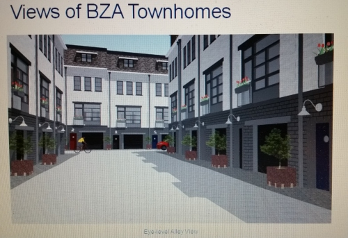 Preliminary rendering of alleyway between two parallel rows of townhouses.