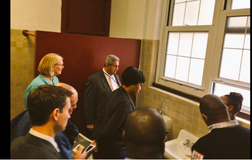 Mayor Bowser, Councilmember Allen, Deputy Mayor for Education, and others tour Eliot Hine on Wednesday.